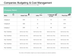 Companies Budgeting And Cost Management Ppt PowerPoint Presentation Portfolio Slide