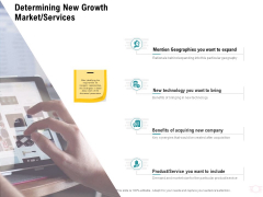Company Amalgamation Determining New Growth Market Services Ppt Slides Microsoft PDF
