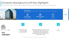 Company Background With Key Highlights Ppt Gallery Topics PDF