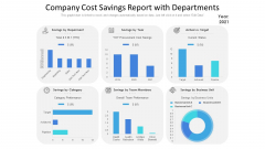 Company Cost Savings Report With Departments Ppt Slides Background Image PDF