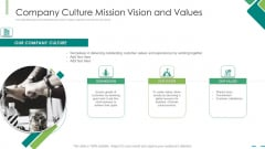 Company Culture Mission Vision And Values Ppt Model Maker PDF