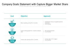Company Goals Statement With Capture Bigger Market Share Ppt PowerPoint Presentation Styles Infographic Template PDF