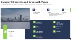 Company Introduction And Details With Values Ppt Icon PDF