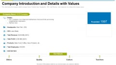 Company Introduction And Details With Values Ppt Summary Template PDF