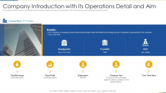 Company Introduction With Its Operations Detail And Aim Portrait PDF