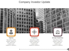 Company Investor Update Ppt PowerPoint Presentation Layout