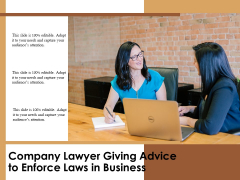 Company Lawyer Giving Advice To Enforce Laws In Business Ppt PowerPoint Presentation Outline Grid PDF