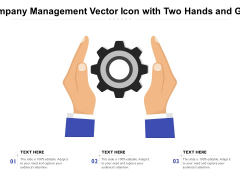 Company Management Vector Icon With Two Hands And Gear Ppt PowerPoint Presentation File Icon PDF