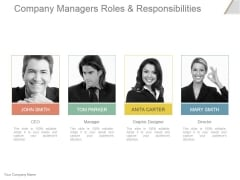 Company Managers Roles And Responsibilities Ppt PowerPoint Presentation Background Designs