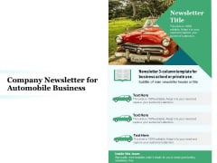 Company Newsletter For Automobile Business Ppt PowerPoint Presentation Gallery Good PDF