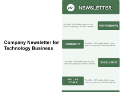 Company Newsletter For Technology Business Ppt PowerPoint Presentation File Maker PDF