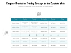 Company Orientation Training Strategy For The Complete Week Ppt PowerPoint Presentation File Master Slide PDF