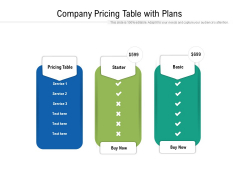Company Pricing Table With Plans Ppt PowerPoint Presentation Gallery Slide Download PDF