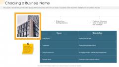 Company Process Handbook Choosing A Business Name Ppt Model Inspiration PDF