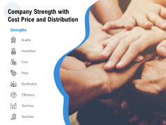 Company Strength With Cost Price And Distribution Ppt PowerPoint Presentation Ideas PDF