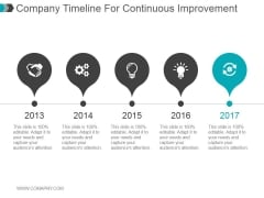 Company Timeline For Continuous Improvement Ppt PowerPoint Presentation Slide