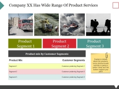 Company Xx Has Wide Range Of Product Services Ppt PowerPoint Presentation Infographic Template Slide