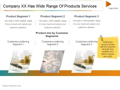 Company Xx Has Wide Range Of Products Services Ppt PowerPoint Presentation Model Example File