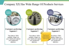 Company Xx Has Wide Range Of Products Services Ppt PowerPoint Presentation Portfolio Graphics