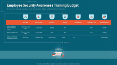 Companys Data Safety Recognition Employee Security Awareness Training Budget Formats PDF