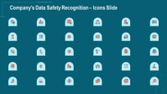 Companys Data Safety Recognition Icons Slide Ppt Icon Gridlines PDF