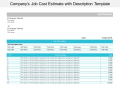 Companys Job Cost Estimate With Description Template Ppt PowerPoint Presentation Portfolio Template