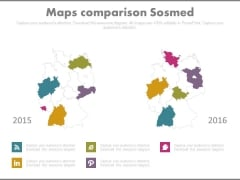 Comparison Map Chart With Social Media Icons Powerpoint Slides
