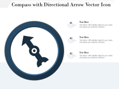 Compass With Directional Arrow Vector Icon Ppt PowerPoint Presentation File Background Designs PDF