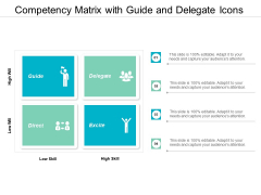 Competency Matrix With Guide And Delegate Icons Ppt Powerpoint Presentation Infographics Outfit