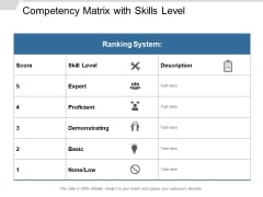 Competency Matrix With Skills Level Ppt Powerpoint Presentation Inspiration Good