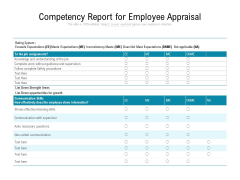 Competency Report For Employee Appraisal Ppt PowerPoint Presentation Icon Design Templates PDF