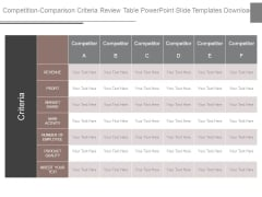 Competition Comparison Criteria Review Table Powerpoint Slide Templates Download