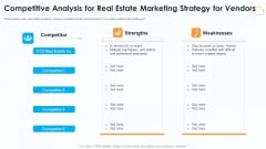 Competitive Analysis For Real Estate Marketing Strategy For Vendors Elements PDF