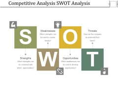 Competitive Analysis Swot Analysis Ppt PowerPoint Presentation Infographic Template Designs