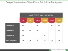 Competitive Analysis Table Powerpoint Slide Background