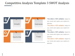 Competitive Analysis Template 3 Swot Analysis Ppt PowerPoint Presentation Inspiration Slide Download