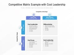 Competitive Matrix Example With Cost Leadership Ppt PowerPoint Presentation Infographics Show PDF