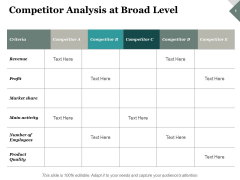 Competitor Analysis At Broad Level Ppt PowerPoint Presentation Summary Infographic Template