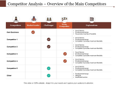 Competitor Analysis Overview Of The Main Competitors Ppt PowerPoint Presentation Model Clipart