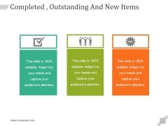 Completed Outstanding And New Items Ppt PowerPoint Presentation Portfolio