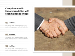 Compliance With Recommendation With Shaking Hands Image Ppt PowerPoint Presentation Gallery Information PDF