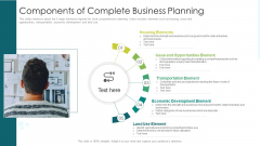 Components Of Complete Business Planning Ppt PowerPoint Presentation Ideas Design Inspiration PDF