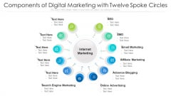 Components Of Digital Marketing With Twelve Spoke Circles Ppt PowerPoint Presentation Gallery Graphics Pictures PDF