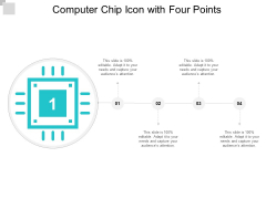 Computer Chip Icon With Four Points Ppt PowerPoint Presentation Slides Elements