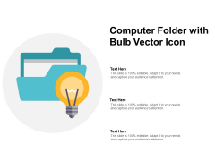 Computer Folder With Bulb Vector Icon Ppt Powerpoint Presentation Professional Samples