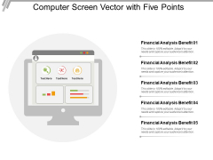Computer Screen Vector With Five Points Ppt PowerPoint Presentation Infographics Guidelines