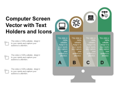 Computer Screen Vector With Text Holders And Icons Ppt PowerPoint Presentation Pictures Design Templates