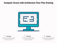 Computer Screen With Architecture Floor Plan Drawing Ppt PowerPoint Presentation Professional Master Slide