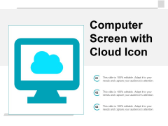 Computer Screen With Cloud Icon Ppt Powerpoint Presentation Infographics Display