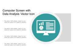 Computer Screen With Data Analysis Vector Icon Ppt PowerPoint Presentation Slides Clipart Cpb